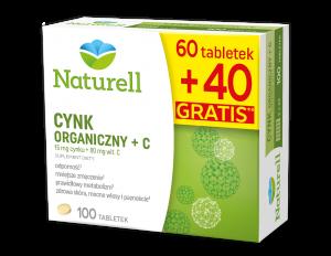 Naturell Cynk Organiczny + C 100tabl